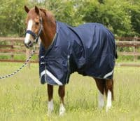 Navy  Premier Equine Titan 40g Turnout Rug with Neck Cover (1)